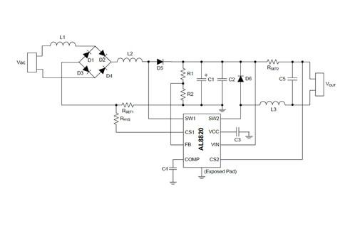 Светодиодный драйвер AL8820 Diodes Incorporated