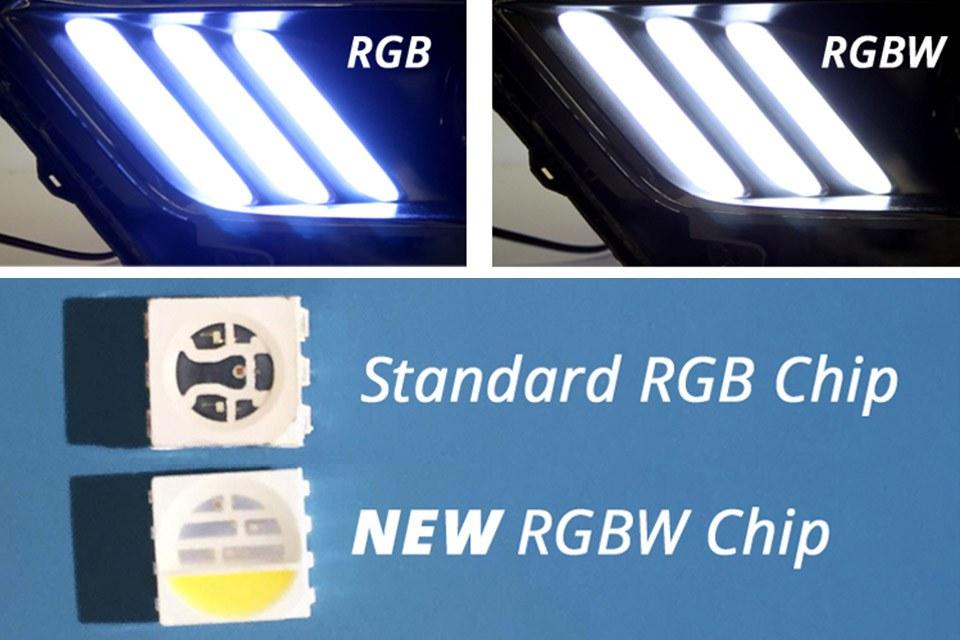 Согласно Diode Dynamics, это первый случай, когда светодиоды RGBW специально разработаны для автомобильных приложений