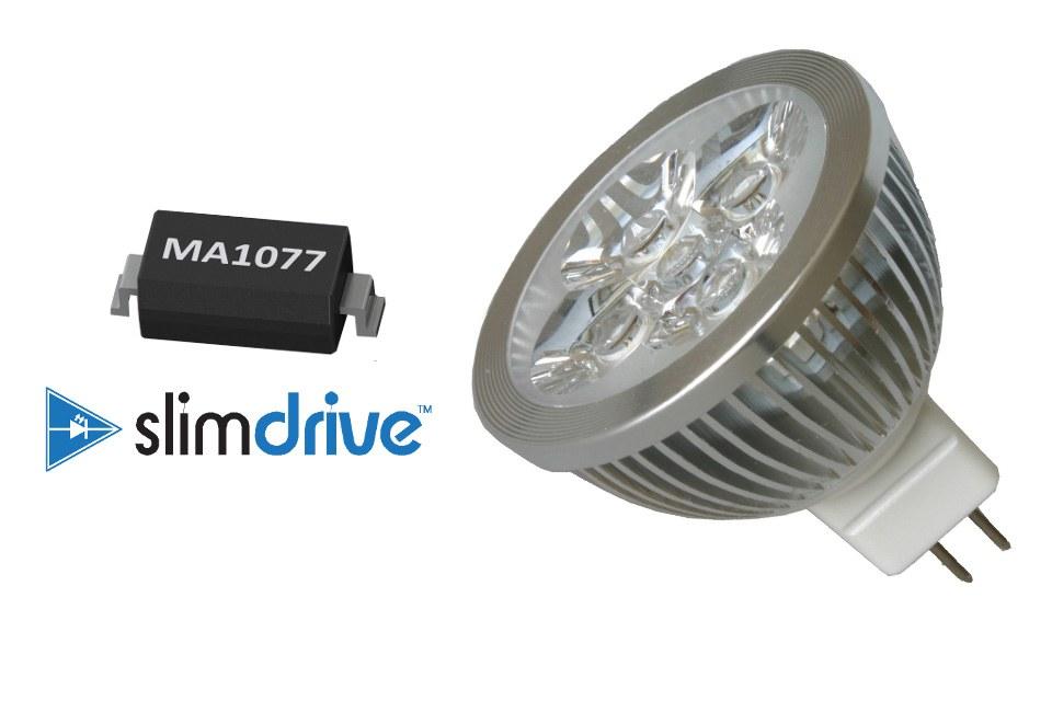 MarulaLED MA1077 SlimDrive IC создана для упрощение конструкции ламп 12 В, повышая совместимость с трансформатором