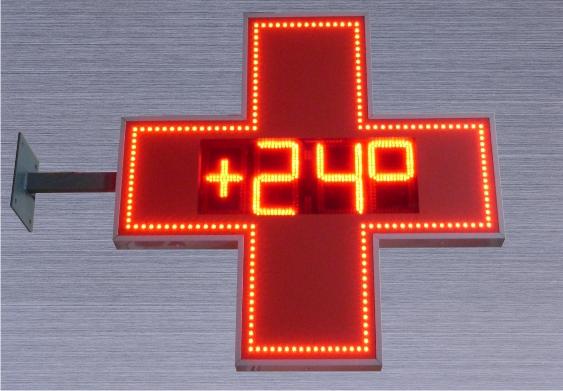 Аптечный крест с термометром и часами