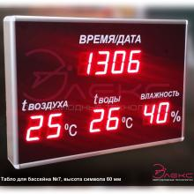 Часы термометр для бассейна с влажностью