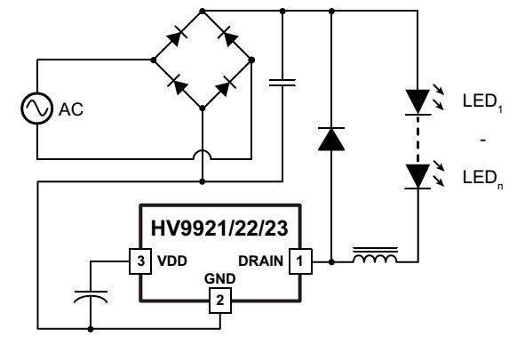 HV9921 типовая схема включения
