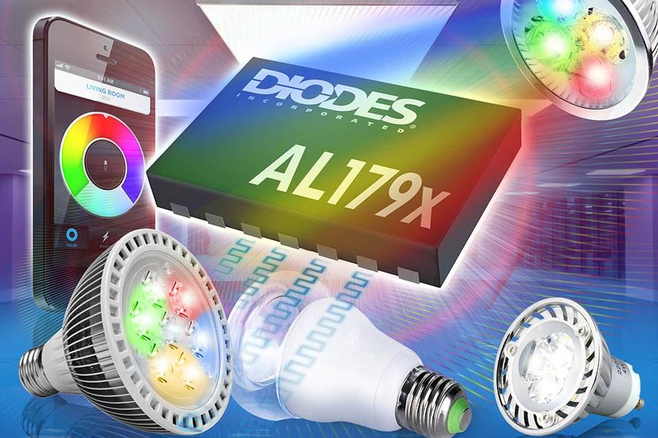 Светодиодный драйвер от Diodes для настраиваемых белых и цветных светодиодных ламп